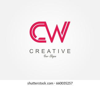CW Letter Logo Design Template Element