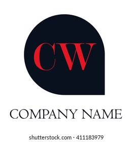 CW Letters red , Abstract black background logo, Design identity in shape, Alphabet letter