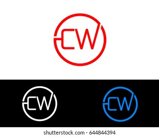 Cw Logo. Letter Design Vector with Red and Black Gold Silver Colors