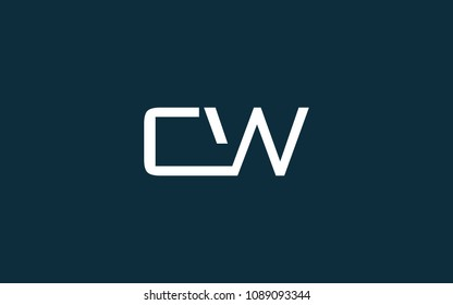 CW WC Letter Initial Logo Design Template