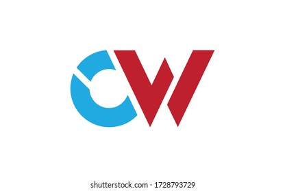 CW or WC Letter Initial Logo Design, Vector Template