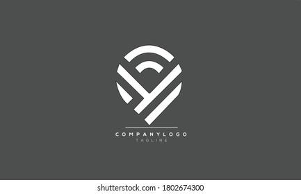 CY YC abstract initials monogram letter text alphabet logo design