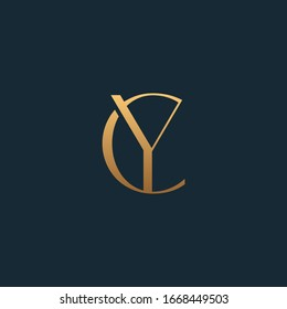 CY or YC monogram fashion logo with gold color