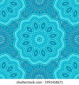 Cyan blue mandala pattern, teal turquoise seamless vector tile ornament. Summer cool dress print design. Textile mandala blue turquoise seamless pattern. Fabric print for fress, summer swimwear.