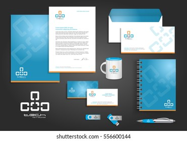 Cyan, Blue orange digital tech corporate identity template design with link element. Business technology stationery
