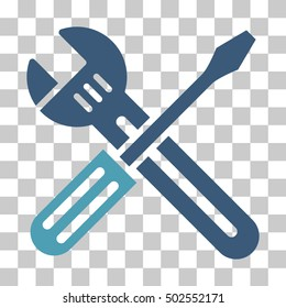 Cyan And Blue Spanner and Screwdriver interface pictogram. Vector pictogram style is a flat bicolor symbol on chess transparent background.