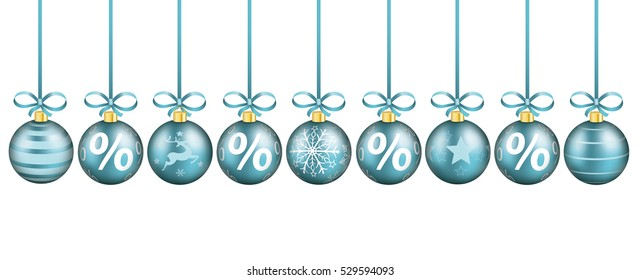 Cyan christmas baubles with ribbons and percents on the white background. Eps 10 vector file.