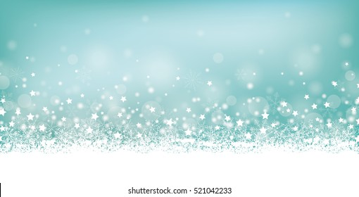 Cyan christmas header with snow and stars on the bokeh background. Eps 10 vector file.
