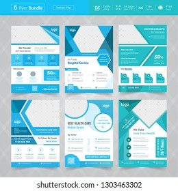 Cyan Color Medical flyer bundle Design template collection, Layout in A4 size.