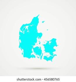 Cyan Denmark Map Illustration