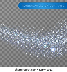 Cyan glitter star dust trail sparkling particles on transparent background. Transparent sparkle wave. Space comet tail. Vector glamour fashion illustration for shining greeting backgroung.
