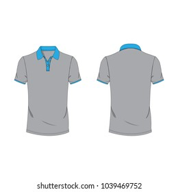 Cyan and gray  polo T-shirt template using for fashion cloth design and assessorie for designer to make mock up or blue print in copany.