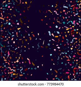 Cyan, pink magenta, gold confetti flying on dark blue poster background. Glamorous tinsel sparkle elements flying, gradient foil texture serpentine streamers confetti falling anniversary backdrop