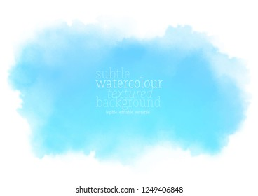 cyan watercolor splash. sky blue background.