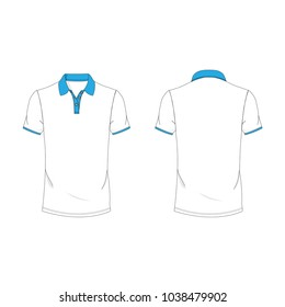 Cyan and white polo T-shirt template using for fashion cloth design and assessorie for designer to make mock up or blue print in copany.