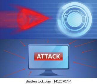 Cyber attack banner set. Cartoon illustration of cyber attack vector banner set for web design