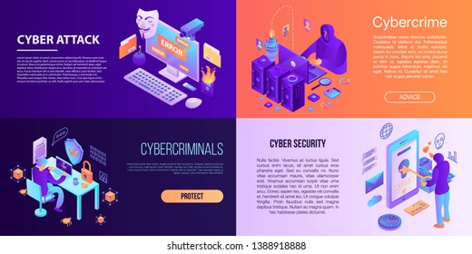 Cyber attack banner set. Isometric set of cyber attack vector banner for web design