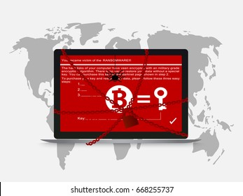 Cyber attack hack petya ransomware encrypted file and lock computer. vector illustration concept.
