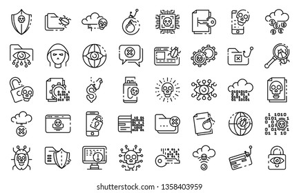 Cyber attack icons set. Outline set of cyber attack vector icons for web design isolated on white background
