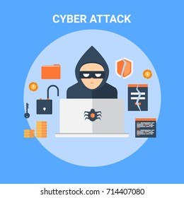 Cyber attack, security breach, identity theft, hacking flat design vector icon illustration isolated on blue background