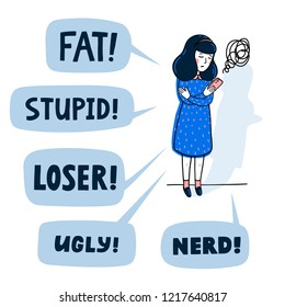 Cyber bullying concept. Teenage Girl Being Bullied By abusive text messages. Flat style vector illustration.