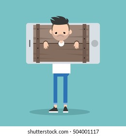 Cyber bullying conceptual illustration: young bearded man standing locked in the wooden pillory / editable flat vector illustration