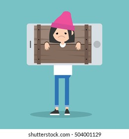 Cyber bullying conceptual illustration: young girl standing locked in the wooden pillory / editable flat vector illustration