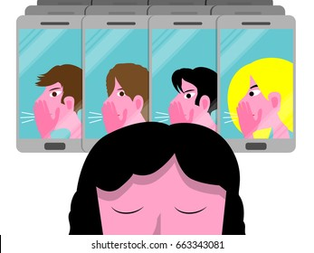 Cyber bullying conceptual vector illustration with sad girl, female teenager molested by a group on cellphones isolated on white