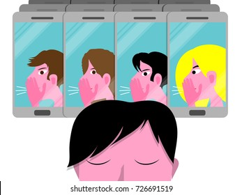 Cyber bullying conceptual vector illustration with sad boy, male teenager molested by a group on cellphones isolated on white