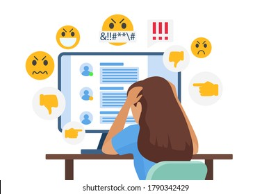 Cyber bullying people vector illustration. Cartoon flat sad young bullied girl character sitting in front of computer with online dislike in social media, cyber bully mockery problem isolated on white