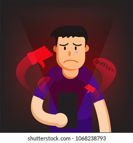 cyber bullying from phone and man sad background graphic vector illustrations