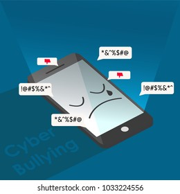 cyber bullying phone sad background graphic vector illustrations
