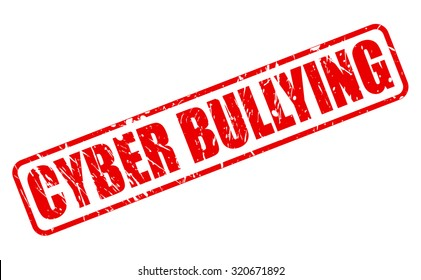 CYBER BULLYING red stamp text on white