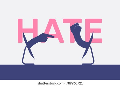 cyber bullying vector illustration, flat silhouette, text banner, concept for design, monitor, hand pulling, finger pokes, fist swings, hate, white, pink, blue