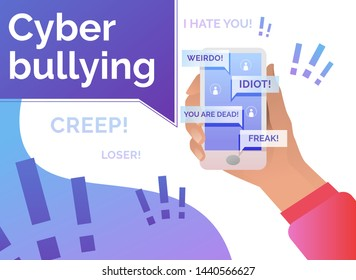 Cyber bullying victim hand holding smartphone. Abuse, internet, hate concept. Poster or landing template. Vector illustration for topics like social media, technology, cyber bullying
