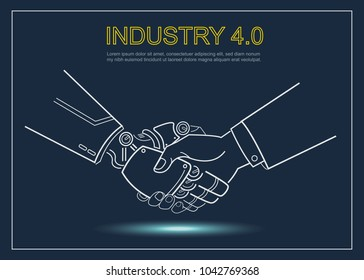 Cyber communication and robotic concepts. Industrial 4.0 Cyber Physical Systems concept. Robot and Engineerer human holding hand with handshake and dark blue background. vector outline.