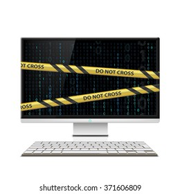 Cyber crime. Computer monitor with warning tape. Stock vector illustration.