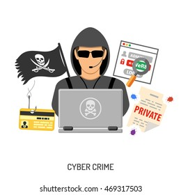 Cyber Crime Concept with Flat Icons Hacker and Social Engineering. Isolated vector illustration.