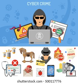 Cyber Crime Concept for Flyer, Poster, Web Site, Printing Advertising Like Hacker, Thief and Social Engineering Flat Icons. Isolated vector illustration.
