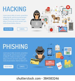 Cyber Crime Horizontal Banners for Flyer, Poster, Web Site, Printing Advertising Like Hacker and Social Engineering Flat Icons. Vector illustration
