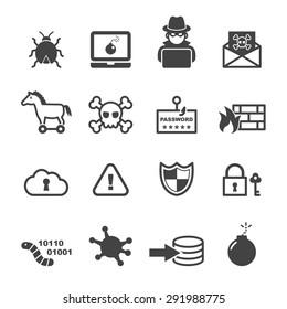cyber crime icons, mono vector symbols
