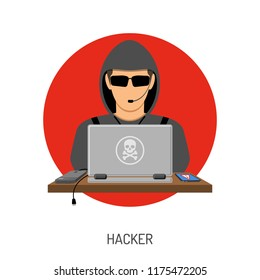 Cyber Crime and Internet Security Concept with flat style icons Hacker Avatar, laptop, smartphone. Isolated vector illustration
