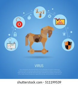 Cyber Crime & Virus Concept with Trojan Horse, Bomb, worm and Bug Flat Icons. vector illustration.