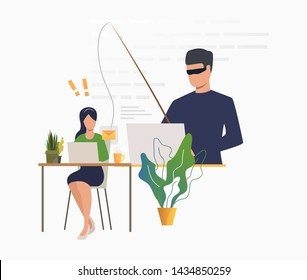 Cyber criminal hacking into email server. Burglar holding fishing tackle with hooked envelope. Cybercrime concept. Vector illustration can be used for hacker attack, data protection, phishing