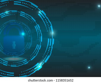 Cyber data security.The high tech concept vector with the global security