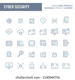 Cyber and digital security - simple outline icon set. Editable strokes and Layered (each icon is on its own layer with proper name) to enhance your design workflow.