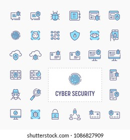 Cyber and digital security - thin line website, application & presentation icon. simple and minimal vector icon and illustration collection.