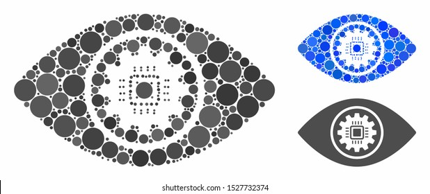 Cyber eye lens mosaic of spheric dots in various sizes and color hues, based on cyber eye lens icon. Vector dots are combined into blue mosaic. Dotted cyber eye lens icon in usual and blue versions.