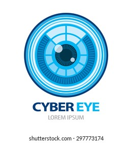 Cyber eye symbol icon. Vector illustration, Logo template design