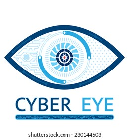 Cyber eye symbol vector icon or cyber logo concept